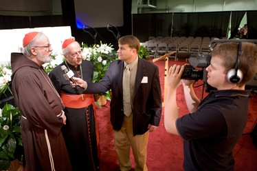 Cardinal Franc Rode, Prefect of the Congregation for Institutes of  Consecrated Life and Societies of Apostolic Life addresses the Apostolic Religious Life Symposium held <br /> Saturday, Sept. 27, 2008 at Stonehill College in North Easton, Mass.  A portion of Cardinal Rode's address was read by Father David O'Connell, president of Catholic University of America and a fellow Vincentian.  Cardinal Sean P. O'Malley introduced Cardinal Rode and translated for him during the question and answer session.<br /> Pilot photo/ Gregory L. Tracy</p> <p>
