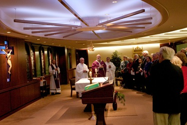 Boston members of the Order of Malta gather at the Pastoral Center of the Archdiocese of Boston Dec. 2, 2008 for Mass with Cardinal Sean P. O'Malley and a fund raising dinner.<br />