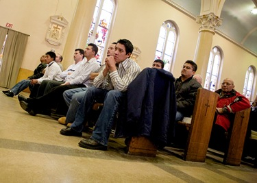 The Feb. 28  day-long retreat at St. Mary Church in Waltham delivered by Father Mario Castañeda, of the Diocese of Palm Beach, Fla., for Spanish-speaking men on thier roles at Christian fathers, sons and workers.  The retreat concluded with a Mass celebrated by Cardinal Seán P. O'Malley.