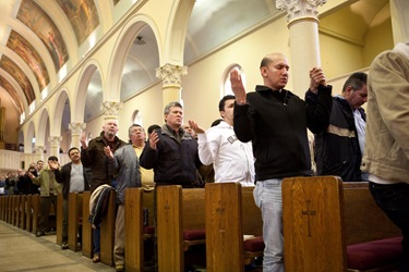 The Feb. 28  day-long retreat at St. Mary Church in Waltham delivered by Father Mario Castaeda, of the Diocese of Palm Beach, Fla., for Spanish-speaking men on thier roles at Christian fathers, sons and workers.  The retreat concluded with a Mass celebrated by Cardinal Sen P. OMalley.