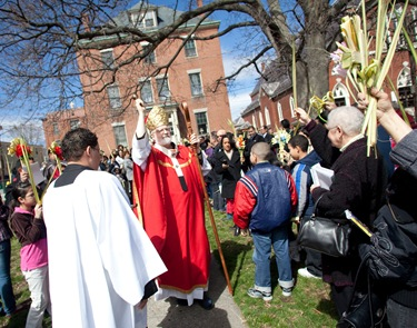 Blessing the Palms at St John's in Peabody.
