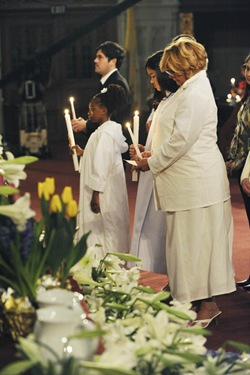 Children who were baptized during an Easter vigil with Cardinal Sean P. O'Malley at the Cathedral of the Holy Cross in Boston, Saturday, April 11, 2009. (Photo/Lisa Poole)