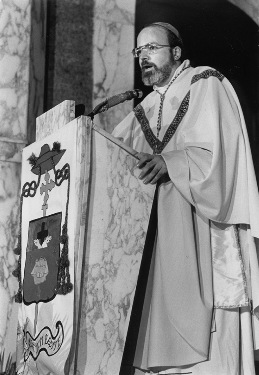 The young coadjutor bishop, Seán P. O'Malley, preaching at the Cathedral of Sts. Peter and Paul in St. Thomas in the U.S. Virgin Islands. (Photo courtesy of The Florida Catholic)