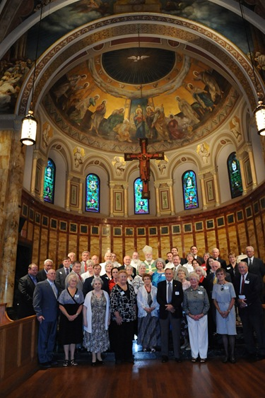 Serrans pose for a photograph during a Mass with Cardinal Sean O'Malley at the chapel of St. John's Seminary in Brighton, Mass., Friday, June 26, 2009. (Photo/Lisa Poole)