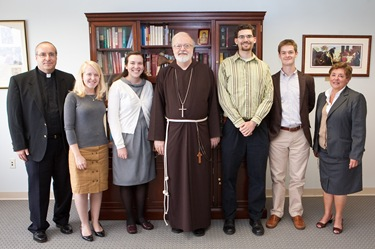 Members of FOCUS campus ministry meet with Cardinal Sen P. OMalley in his office Sept. 17, 2009. Pilot photo/ Gregory L. Tracy