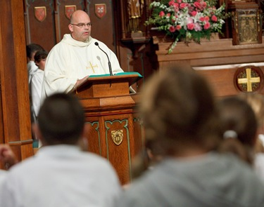 Cardinal Seán P. O'Malley celebrates opening Mass and tours South Boston Catholic Academy Sept. 9, 2009.
