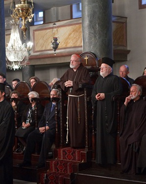 Cardinal Sean P. O'Malley and Greek Orthodox Metropolitan Methodios of Boston listen to remarks addressed to them by Ecumenical Patriarch Bartholomew. Pilot photo/ Gregory L. Tracy