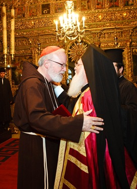 Cardinal O&#39;Malley and Patriarch Bartholomew embrace Sept. 22, 2007 following a celebration of vespers at the Patriarchate of Constantinople.   Pilot photo/ Gregory L. Tracy