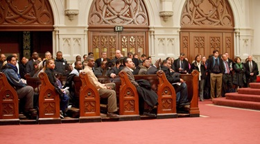Catholic Charities of Boston holds an information meeting Jan. 13 at the Cathedral of the Holy Cross between members of the Haitian community and federal state and local authorities to discuss the situation in Haiti following a major earthquake Jan. 12 in the capital Port-au-Prince.
