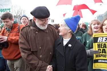 Cardinal Sean O'Malley leads pilgrims from Boston during the annual March for Life Jan. 22 in Washington, DC. Pilot photo/ Gregory L. Tracy