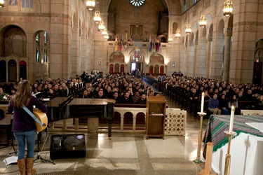 Prior to the 2010 March for Life, Cardinal Sean P. OMalley celebrates Mass for seminarians and students from the Archdiocese of Boston at the Shrine of the Sacred Heart in Washington, DC. Pilot photo/ Gregory L. Tracy 