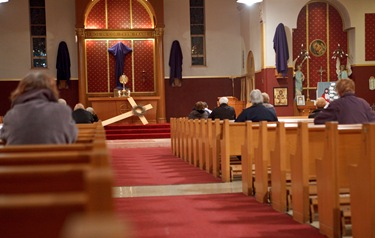 Cardinal Seán P. O'Malley prepares to hear confessions March 10, 2010 at Sacred Heart Church in East Boston as part of The Light Is On For You initiative. Pilot photo by Gregory L. Tracy