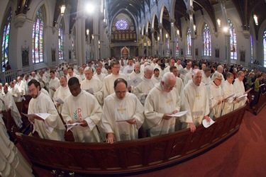 Chrism Mass March 30, 2010 celebrated at the Cathedral of the Holy Cross in Boston.  Pilot photo/ Gregory L. Tracy