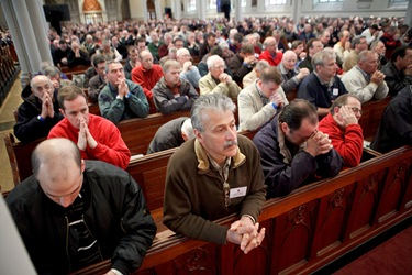 Boston Catholic Mens Conference featuring speakers from EWTNs Crossing the Goal, April 17, 2010 at the Cathedral of the Holy Cross in Boston. Pilot photo/ Gregory L. Tracy