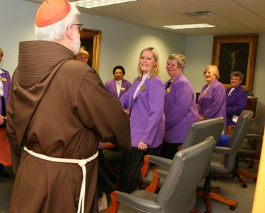 The leadership of the Massachusetts  State Court of the Catholic Daughters of the Americas visits with Cardinal Sean P. O'Malley in his office April 9, 2010. Pilot photo by Gregory L. Tracy