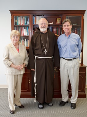 Nannette Canniff and Paul Fanning of the St. Boniface Haiti Foundation of Randolph meet with Cardinal O'Malley May, 19, 2010. Photo by Gregory L. Tracy, The Pilot