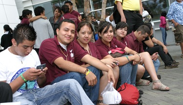 (L-r) Marcos Andres, Luis Gomez, Viviana Villeda, Alejandra Chacon and Lizet Rodriguez of St. Joseph Church wait for the bus that will take them back to Dalton. They are members of the parish Young Followers of Christ teen group.