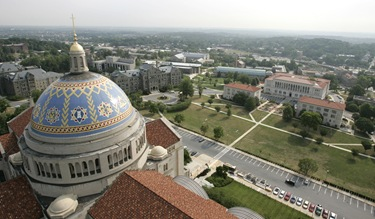 VIEW OF CATHOLIC UNIVERSITY OF AMERICA'S CAMPUS IN WASHINGTON