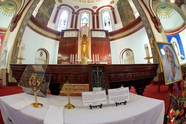 Relics of Blessed Teresa of Calcutta are displayed at St. Margaret Church of Blessed Mother Teresa Parish in Dorchester, June 18, 2010. Pilot photo by Gregory L. Tracy