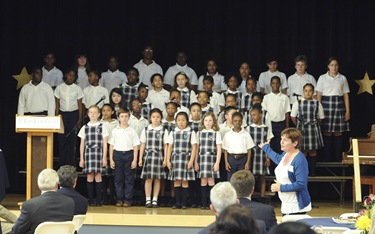 The chorus performs during awards night at the Pope John Paul II Catholic Academy in Dorchester, Wednesday, June 2, 2010. (Photo/Lisa Poole)
