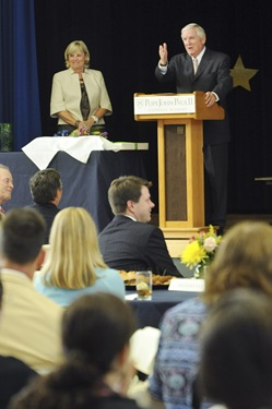 The Connors are seen on stage after being honored during an awards night at the Pope John Paul II Catholic Academy in Dorchester, Wednesday, June 2, 2010. (Photo/Lisa Poole)