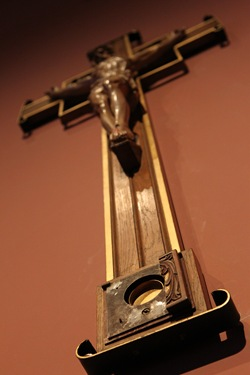 The crucifix that once contained the relic of the true cross hangs in the Blessed Sacrament Chapel of the Cathedral of the Holy Cross July 15, 2010. Pilot photo/ Gregory L. Tracy