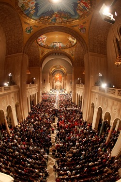 Seminarians lead the procession to begin the National Prayer Vigil for Life at the Basilica of the National Shrine of the Immaculate Conception in Washington Jan. 23. (Pilot photo/ Gregory L. Tracy)