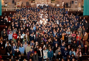 Mass with Boston pro-life pilgrims at Sacred Heart Church, Washington, D.C. Jan. 24, 2011. Pilot photo by Gregory L. Tracy