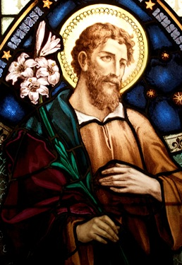 A stained glass window in the Archdiocese of Boston's Pastoral Center depicts St. Joseph, Patron of the Universal Church.