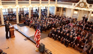 "Supreme Knight of the Knights of Columbus Carl Anderson delivers his address ""The Importance of President John F. Kennedy's Inaugural Address 50 Years Later"" at Boston's Faneuil Hall April 7, 2011. Photo by Gregory L. Tracy, The Pilot"
