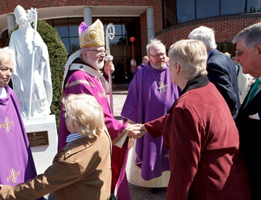 Dedication of stutue of St. Patrick donated by the parishioners of St. Mary, Brookline March 30, 2011. Photo by Gregory L. Tracy, The Pilot