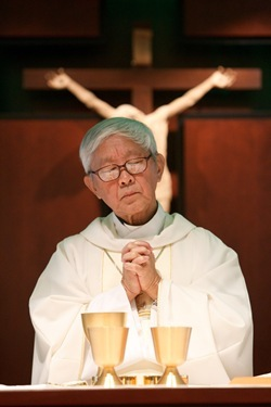 Retired Archbishop of Hong Kong Cardinal Joseph Zen Ze-kiun celebrates Mass at the Boston Archdiocese's Pastoral Center July 18, 2011. The visit was part of a multi-city tour by the cardinal of the U.S. and Canada visiting local Chinese Catholic communities and raising awareness of the situation of the Church in China.