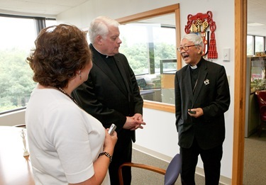 Retired Archbishop of Hong Kong Cardinal Joseph Zen Ze-kiun visits the Boston Archdioceses Pastoral Center July 18, 2011. The visit was part of a multi-city tour by the cardinal of the U.S. and Canada visiting local Chinese Catholic communities and raising awareness of the situation of the Church in China.&#10;Pilot photo/ Gregory L. Tracy&#10;