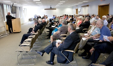 Msgr. Andrew Wadsworth executive director of the International Commission on English in the Liturgy (ICEL) speaks at the Archdiocese of Boston's Pastoral Center Sept. 28, 2011. Photo by Gregory L. Tracy, The Pilot