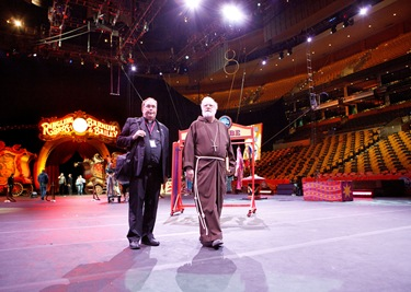 Cardinal Sean P. O&#39;Malley visits Ringing Bros. Barnum and Bailey Circus at Boston&#39;s TD Garden  on Oct. 14, 2011 with National Circus Chaplain and Boston priest Father Gerry Hogan. Pilot photo/ Gregory L. Tracy