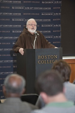 Cardinal Sean O'Malley adresses a C21 event audience on The Eucharist: The Center of Catholic Life. The event took place in the Murray Room of Yawkey Center and was the last event of a series of day long activities for the Cardinal in his visit to STM and the University in general.