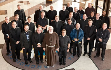 Meeting with recently ordained priests, Oct. 4, 2011. Photo by Gregory L. Tracy, The Pilot&#10;