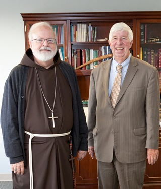 Cardinal Sean P. O&#39;malley meets with the rev. Jack Johnson of director of the Massachusetts Council of Churches, Oct. 4, 2011. Photo by Gregory L. Tracy, The Pilot