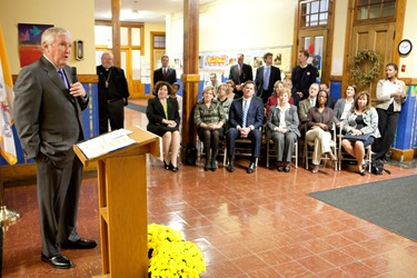 The Campaign for Catholic Schools today announced Oct. 12, 2011 that it has been awarded a $1 million grant by the State Street Foundation, the grant-making arm of State Street Corporation. The annoucement was made at a press conference at Pope John Paul II Catholic Academy Lower Mills Campus. Pilot photo/ Gregory L. Tracy