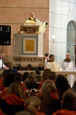 Cardinal Sean P. O'Malley celebrates Mass with Boston pro-life pilgrims at Sacred Heart Shrine in Washington D.C. prior to the March for Life Jan. 23, 2012. Pilot photo/ Gregory L. Tracy