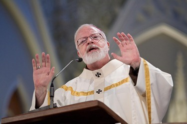 Cardinal O'Malley celebrates the Chrism Mass April 3 at the Cathedral of the Holy Cross.  At the Mass, sacred oils are blessed that will be used in parishes for sacraments throughout the coming year.  Traditionally, the day is also an occasion to celebrate priestly fraternity. Pilot photo by Gregory L. Tracy