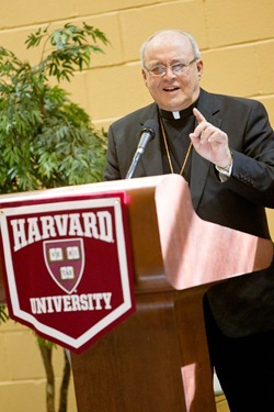 Cardinal Jaime Ortega of Havana speaks to students at the Harvard University Catholic Center at St. Paul Church in Cambridge, Mass. April 24, 2012.