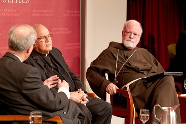 Cardinal Jaime Ortega of Havana and Cardinal Sen P. OMalley of Boston participate in a forum Church and Community: A Dialogue About the Role of the Catholic Church in Cuba at the Harvard Kennedy School of Government in Cambridge, Mass. April 24, 2012.  The discussion was moderated by Jorge Dominguez, the Vice Provost for International Affairs at Harvard.&#10;Pilot photo/ Gregory L. Tracy&#10;