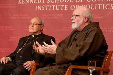 "Cardinal Jaime Ortega of Havana and Cardinal Seán P. O'Malley of Boston participate in a forum ""Church and Community: A Dialogue About the Role of the Catholic Church in Cuba"" at the Harvard Kennedy School of Government in Cambridge, Mass. April 24, 2012.  The discussion was moderated by Jorge Dominguez, the Vice Provost for International Affairs at Harvard.