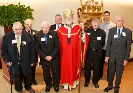 Celebration with jubilarian brothers April 25, 2012 at the Archdiocese of Boston Pastoral Center: Brother Donald Birtles, CFX, was celebrating his 70th anniversary.  Brothers Frederick Codair, CFX; John Doyle, CFX; John Kerr, CFX and Brother James Lucas, OMI were all celebrating their 60th anniversary. Brother James Eckert, CFX was celebrating his 50th anniversary and Brother Rahl Bunsa of the Brotherhood of Hope was celebrating his 25th anniversary. Pilot photo by Gregory L. Tracy