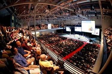 National Catholic Educational Association president Karen Ristau addesses the opening session of the NCEA's 2012 convention in Boston April 11. Pilot photo By Gregory L. Tracy