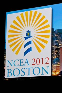 Father Ronald Rolheiser delivers the keynote address during the April 11 opening session of the 2012 National Catholic Education Association convention held in Boston. Pilot photo/ Gregory L. Tracy