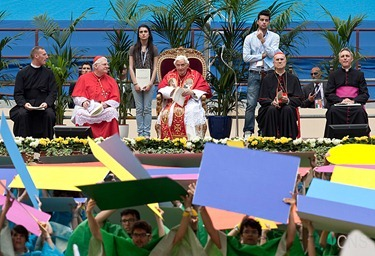Pope Benedict XVI attends a meeting at the San Siro stadium in Milan June 2. The pope was in Milan for the 2012 World Meeting of Families. (CNS photo/Maria Grazia Picciarella, pool) (June 4, 2012) See stories marked FAMILIES- June 1-4, 2012.&#10;