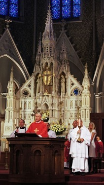 The annual Red Mass for members of the legal professions, celebrated Sept. 28, 2012 at the Cathedral of the Holy Cross.  Pilot photo/ Kevin Blatt