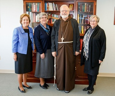 Sister Barbara Dawson, RCSJ, Provincial, Society of the Sacred Heart US Province; Sr. Margaret Causey, RCSJ, Provincial Leadership Team; and Sr. Barbara Rogers, RCSJ,  Head of School at Newton Country Day School of the Sacred Heart meet with Cardinal OMalley in his offices Nov. 16, 2012.&#10;Photo by Gregory L. Tracy, The Pilot&#10;